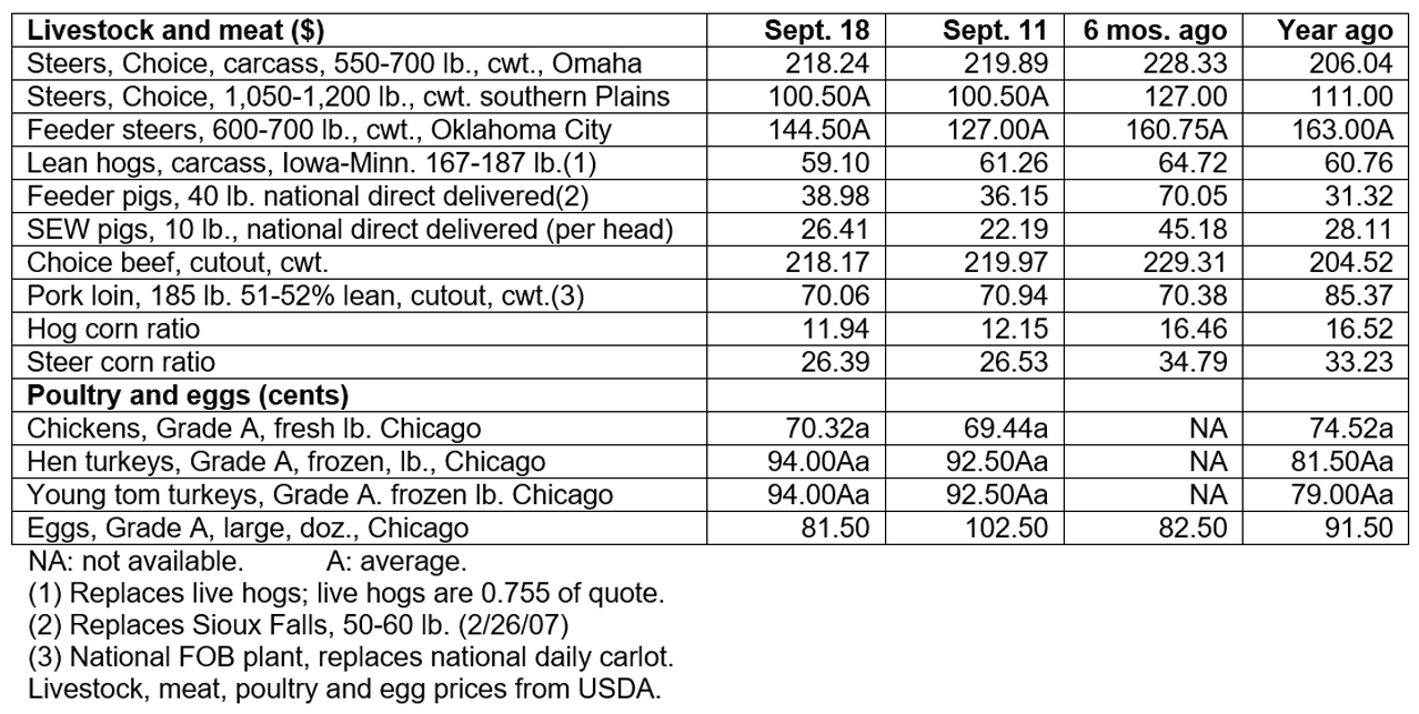September 18, 2019 - Livestock & poultry cash markets