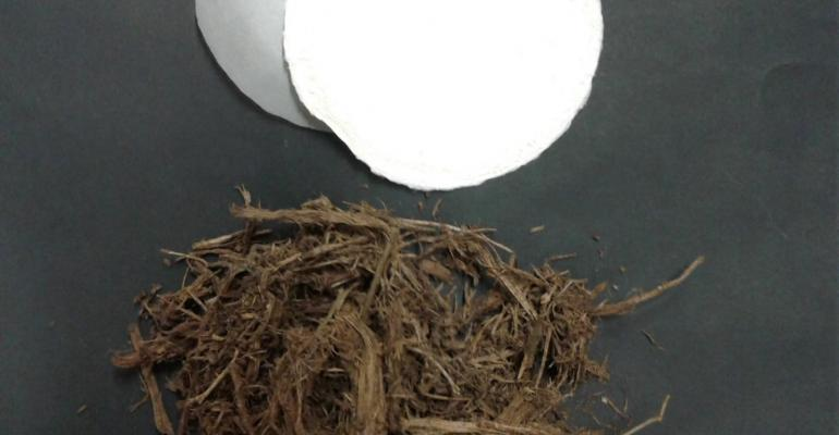 Paper (top) can be made from cellulose derived from elephant manure (bottom).