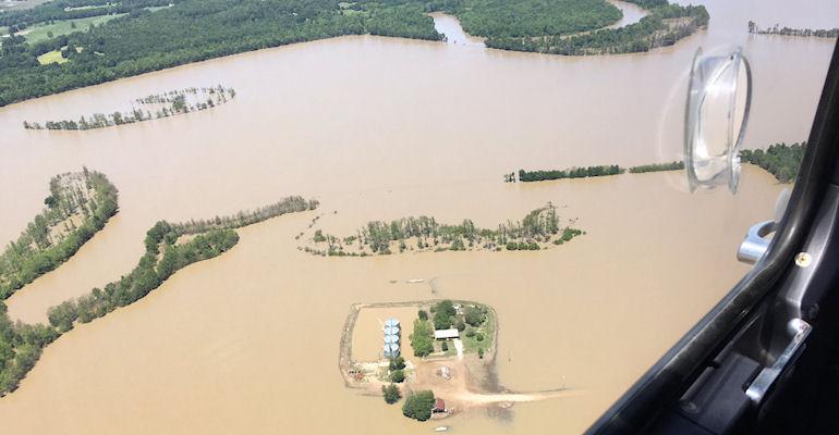 flood damage aerial of Arkansas farmland