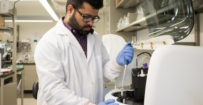 Jasmeet Lamba analyzes water samples as part of a three-year study to ensure poultry litter doesn't become a source of excessive phosphorus in surface waters.