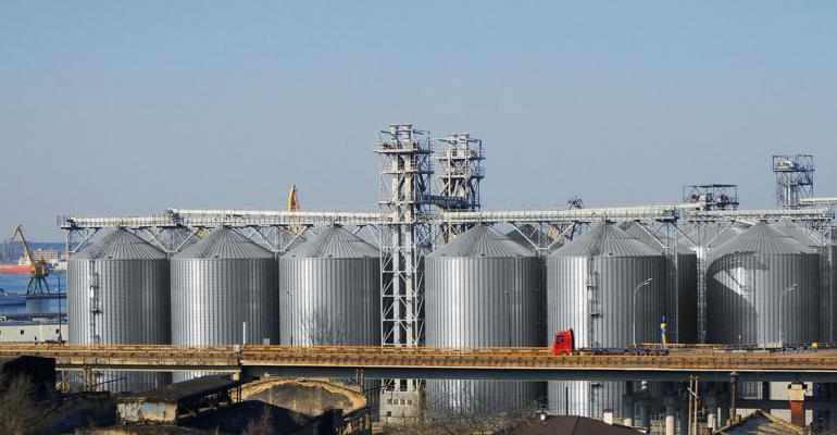 Big silos at a dock