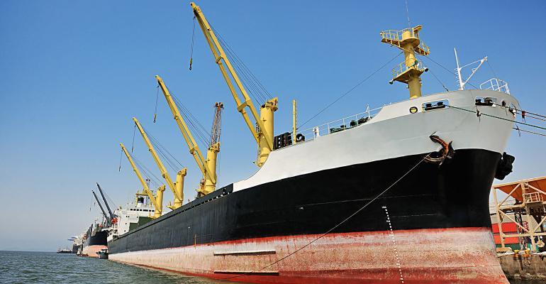 Grain ship at the Port of Paranagua - Brazil
