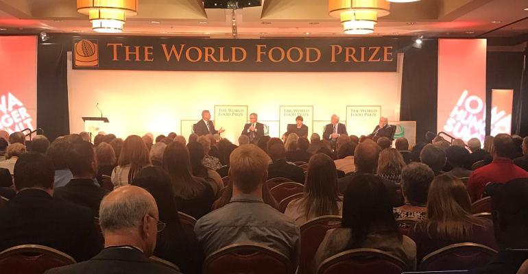 past ag secretaries Vilsack, Johanns, Veneman, Schafer, Glickman speaking at Iowa Hunger Summit