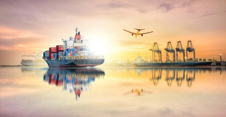 Logistics and transportation of Container Cargo ship and Cargo plane with working crane bridge in harbor at Twilight sky, logistic import export background and transport industry.