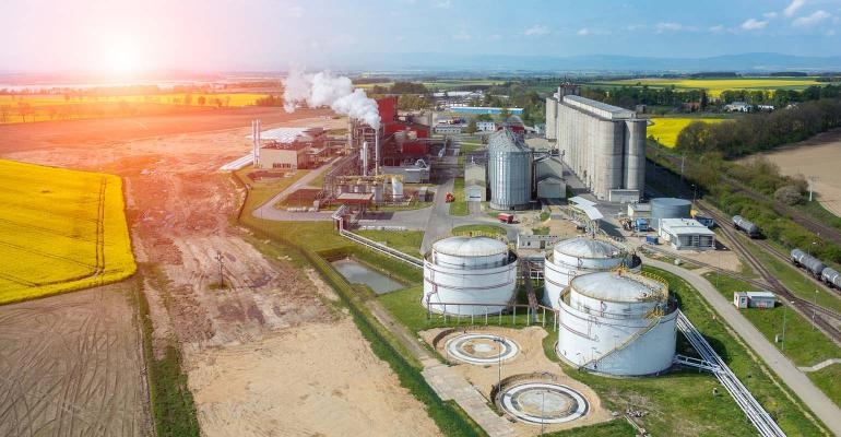 Biofuel plant at sunset