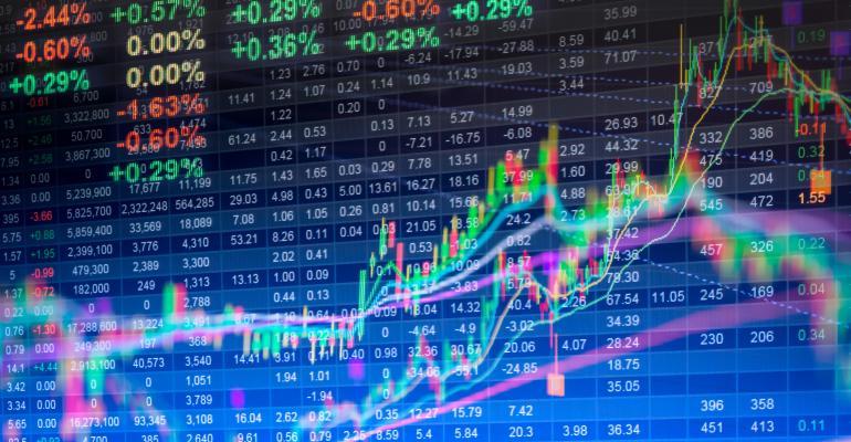 Multi-colored lines across bluish market chart.