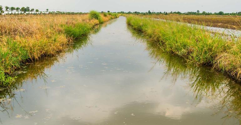 Waterway through grassed area