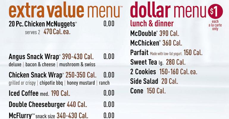 McDonalds menu with calorie listings