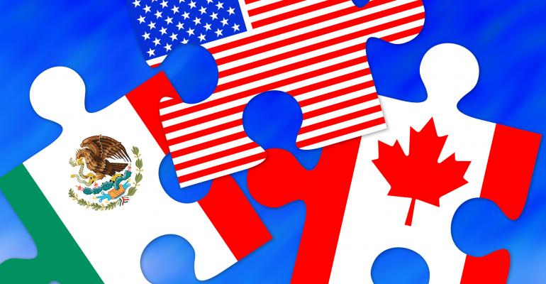 NAFTA graphic of Canada, Mexico and US flags on puzzle pieces