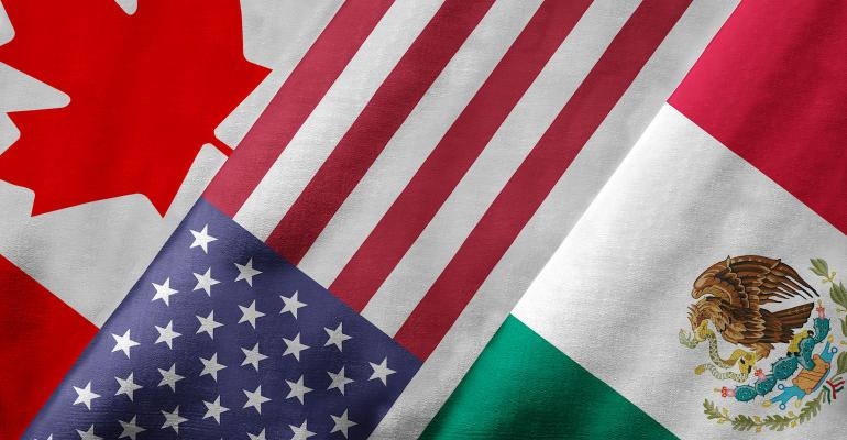 NAFTA countres Canada, US, Mexico flags