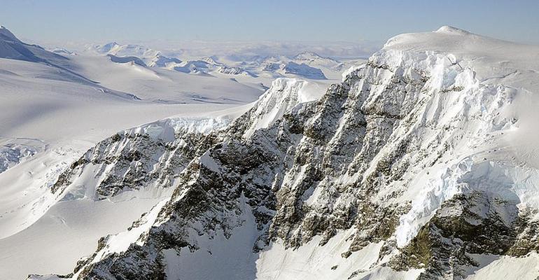 The landscape of Alexander Island part of the Rocky Mountain range, Antarctica.