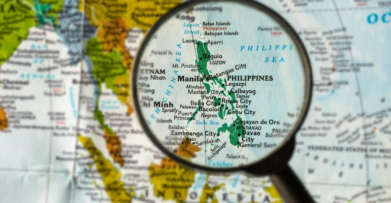 Map of the Philippines under a magnifying glass