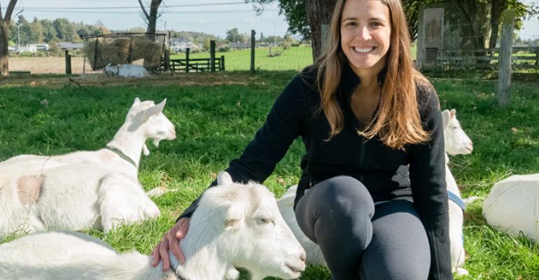 Dr. Gosia Zobel with goats