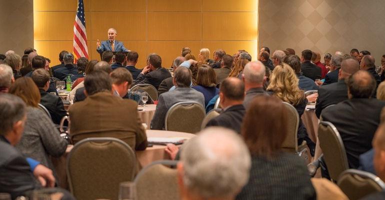 Administrator Scott Pruitt addresses Alabama, Iowa, Missouri, and Ohio Farm Bureau attendants.