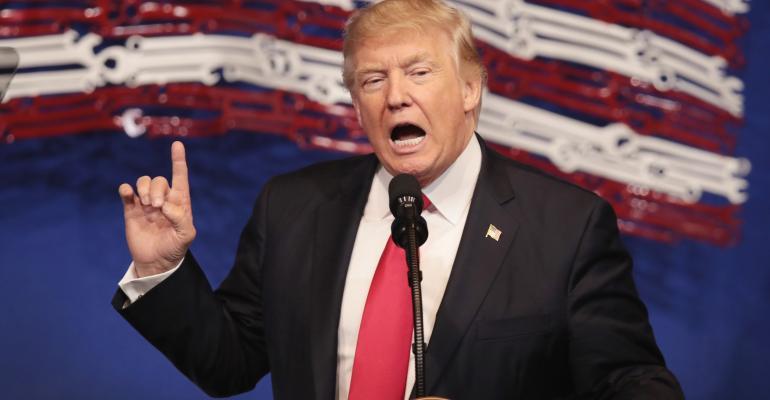 President Donald Trump speaks at Snap-On Tools April 18, 2017, in Kenosha, WI