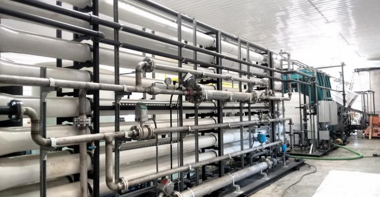 Part of a reverse osmosis system on a dairy farm. This treatment technology passes manure slurry through a series of membranes to purify and recycle water.