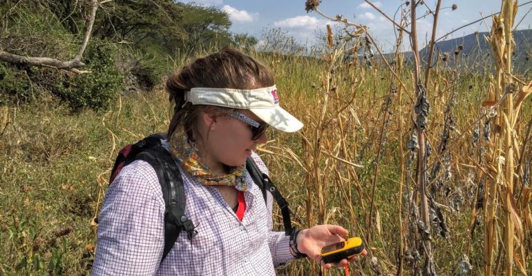 Michelle Stitzer recording GPS coordinates