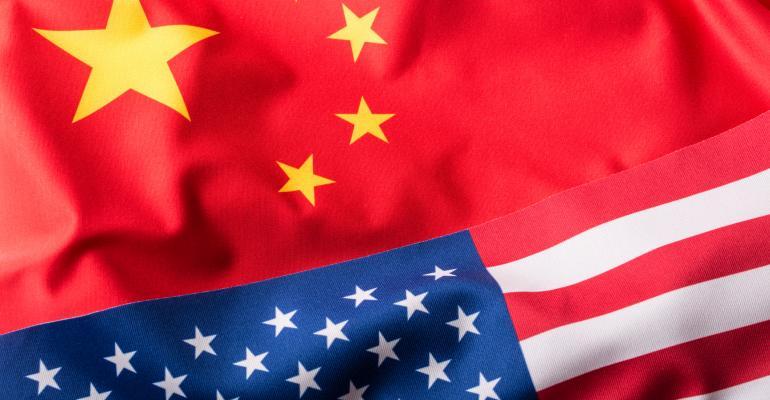 US and China flag mashup