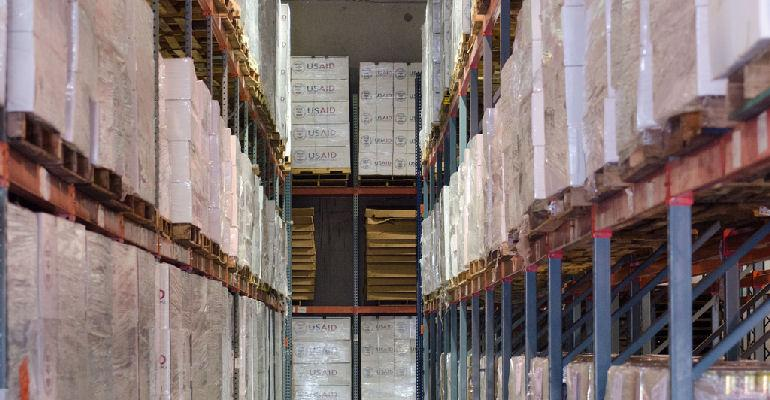 USAID food aid boxes in storage