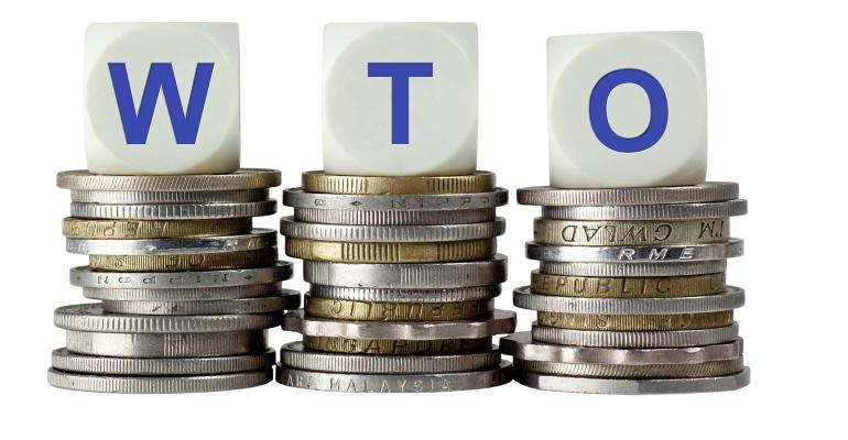 Stacks of coins with the letters WTO isolated on white background