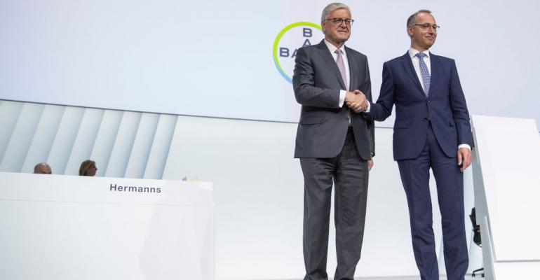 Werner Wenning, Chairman of the Supervisory Board of Bayer AG and Werner Baumann, right, Bayer AG CEO, prior to the annual shareholders meeting of Bayer AG on April 26, 2019 in Bonn, Germany.