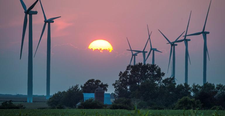 wind turbines on Illinois farm