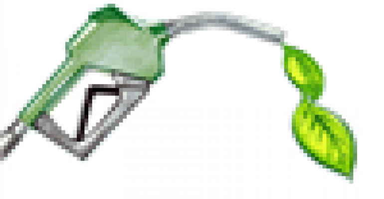 gas pump dispensing renewable fuel and leaf