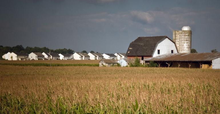 farmland with encroaching urban development