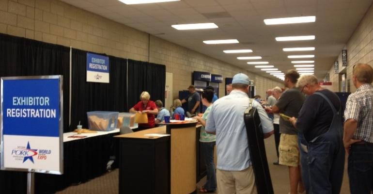 Exhibitor registration was a popular stop yesterday