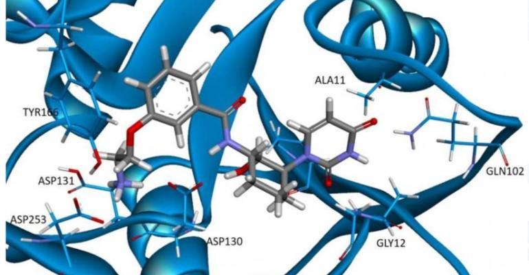 3-D docking pose of potential GalU inhibitor