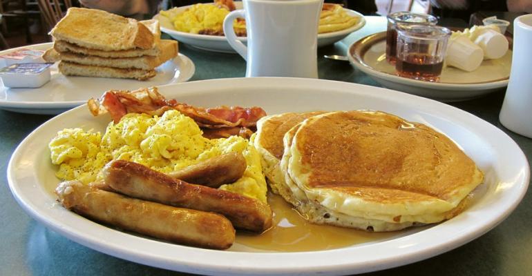 pancakes breakfast eggs sausage