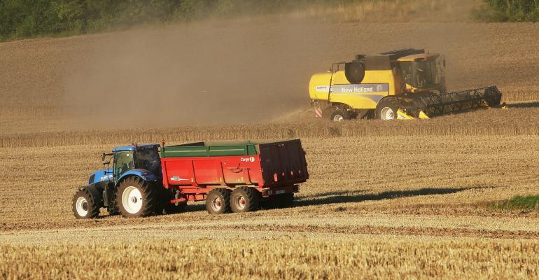 tractor combine field