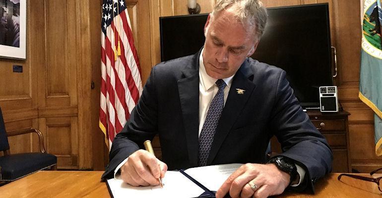 Interior secretary Zinke signing executive order