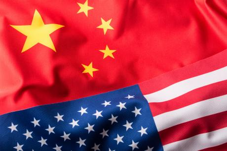 US and China flag mashup
