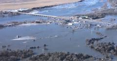 Flooded town in Nebraska