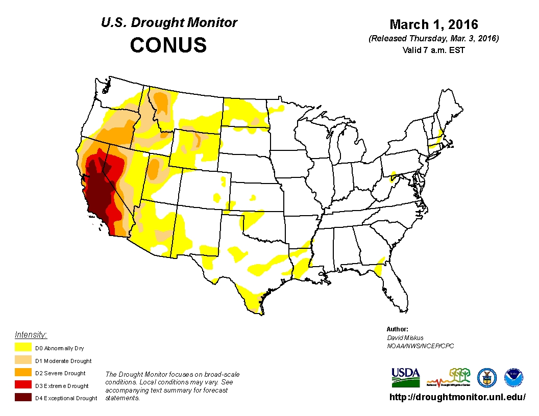 US Drought Footprint Continues To Shrink Feedstuffs - Us drought map 2016